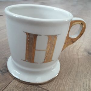 Anthropologie Gold H Mug